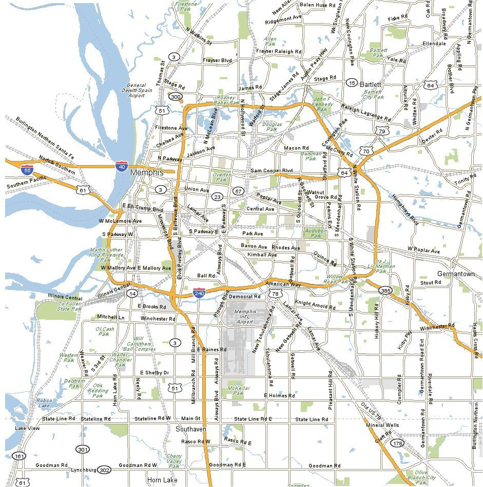 Map Memphis EDEK – Tennessee Tourist Attractions Map