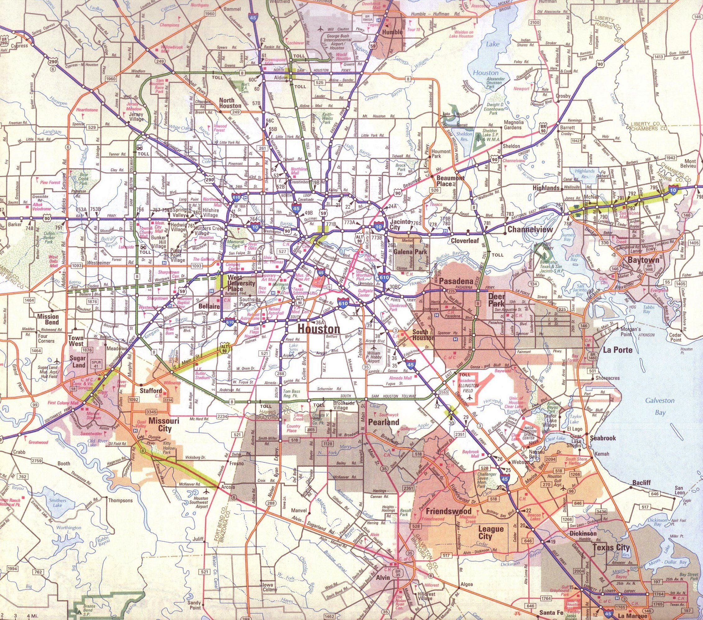 Larger Map Of Houston Texas