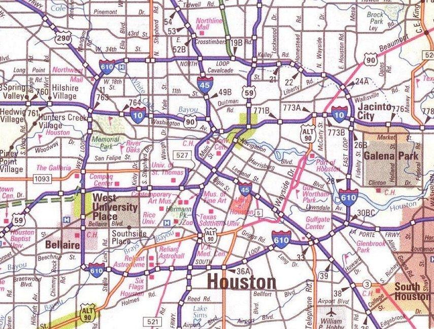 Large Map Of Houston Texas