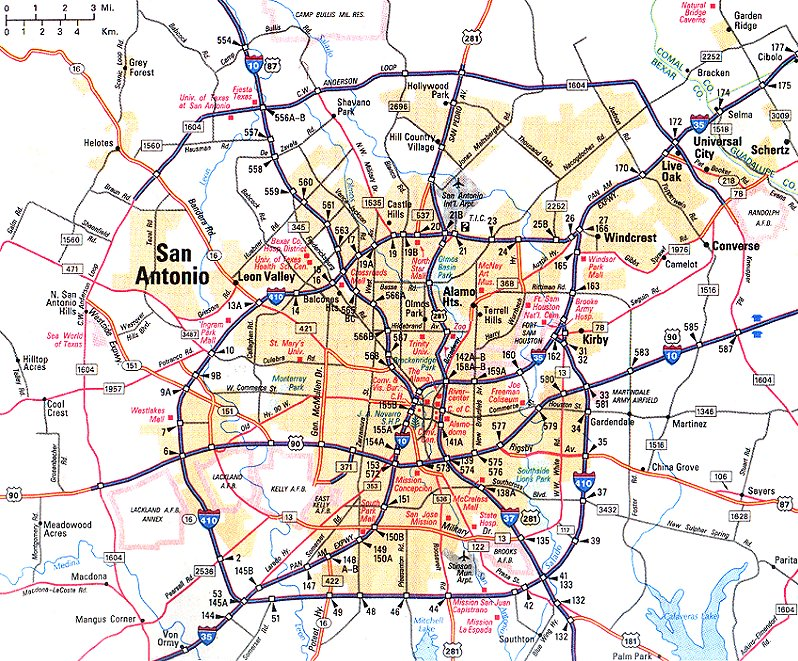 Map of San Antonio Texas