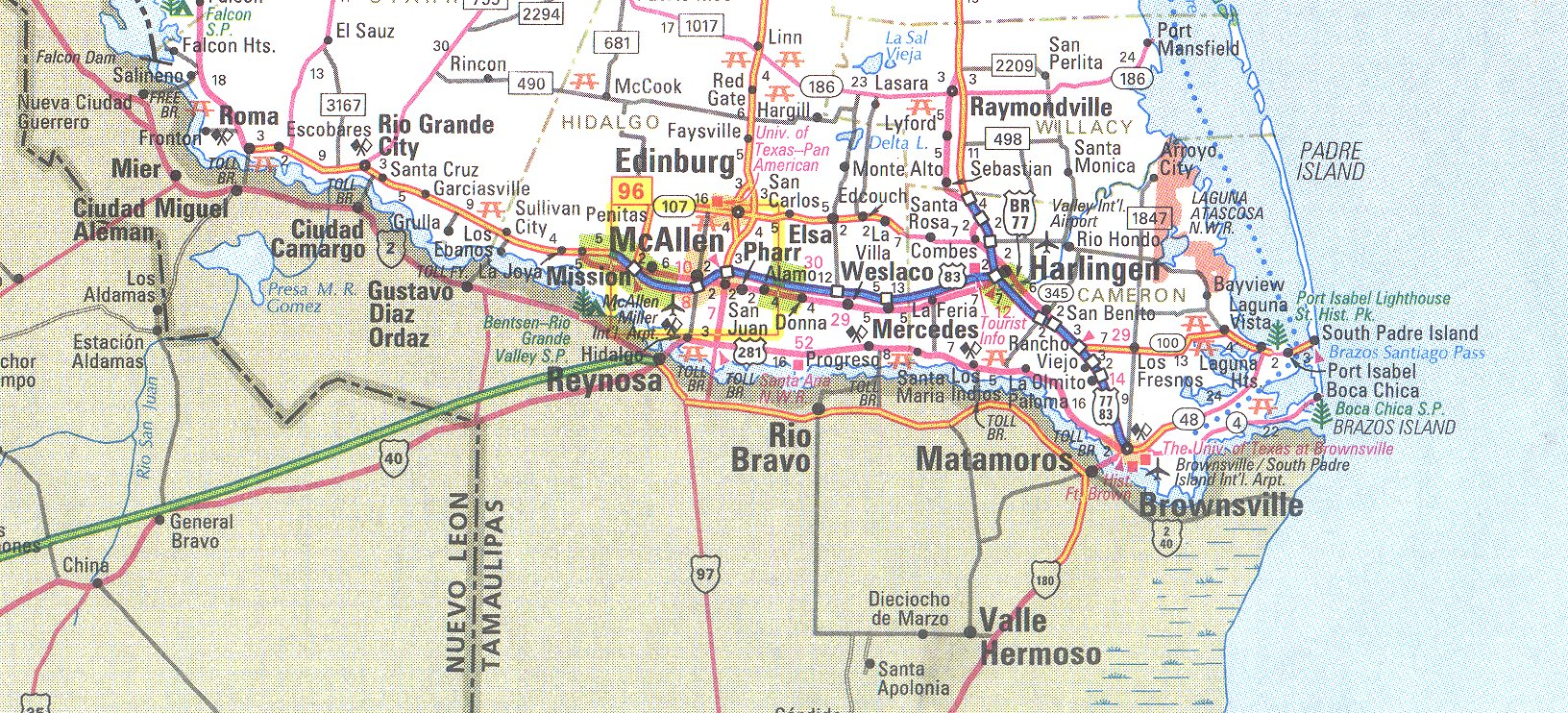 The Rio Grande Valley Texas Map - South texas map with cities
