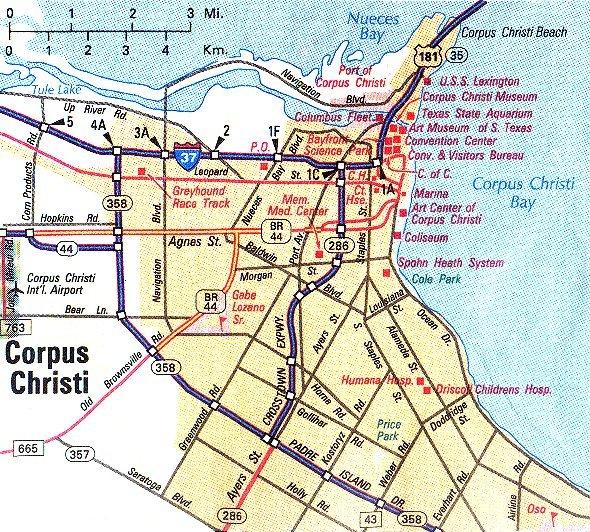 Map Of Corpus Christi Corpus Christi Metropolitan Map